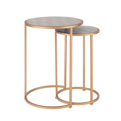 1600038 Anza Set of 2 Round Faux Shagreen Nesting End Table  in Chronicle