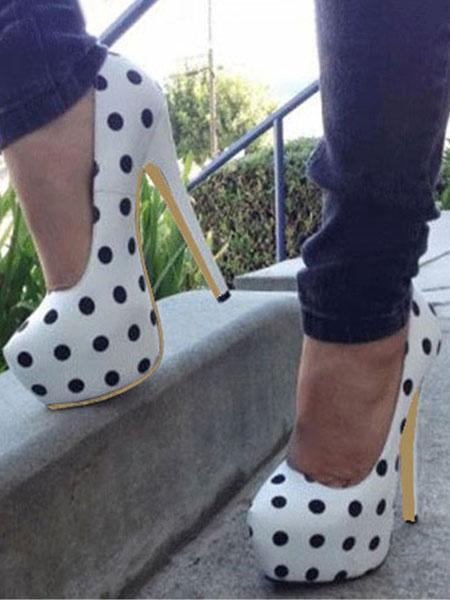 Milanoo Women Platform High Heels White Polka Dot Vintage Pumps