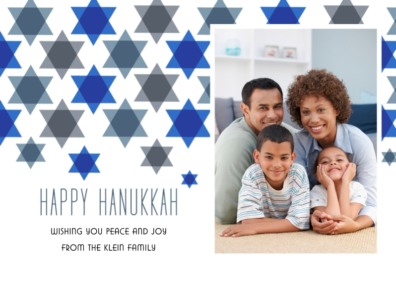 Hanukkah Photo Cards 5x7 Folded Cards, Standard Cardstock 85lb, Card & Stationery -Star Pattern Hanukkah