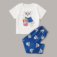 Kleinkind Jungen Schlafanzug Set mit Hund & Popocorn Muster