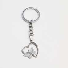 Butterfly Decor Heart Charm Keychain