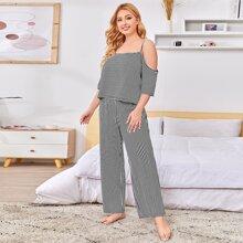 Conjunto de pijama de hombros descubiertos de rayas