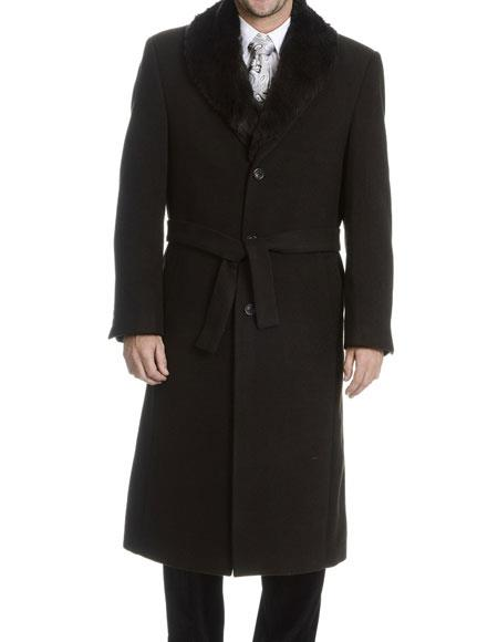 Black Single Breasted Faux Fur Collar Wool 3 Buttons Belted Overcoat