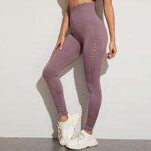 Sports Leggings mit Hohle und breitem Taillenband