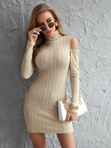 Cold Shoulder Solid Bodycon Dress