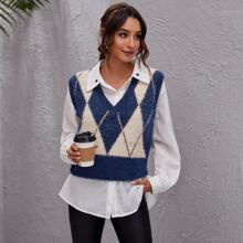 Argyle Pattern Fluffy Knit Sweater Vest
