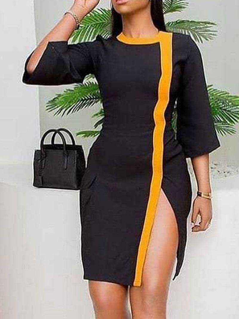 Ericdress Above Knee Three-Quarter Sleeve Split Fashion Pullover Dress