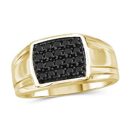 Mens 1/2 CT. T.W. Genuine Black Diamond 14K Gold Over Silver Fashion Ring, 10 , No Color Family