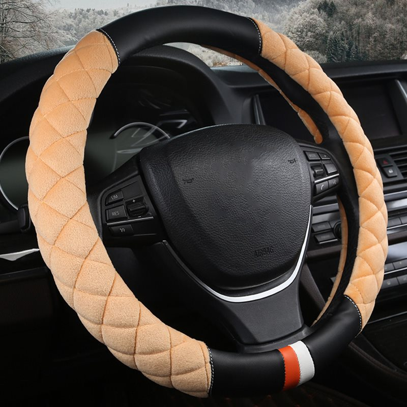 New Arrival 38 Cm In Diameter Winter Warm Suede Universal Steering Wheel Covers Wear-Resistant Heat/Cold-Resistant And Skid-Proof