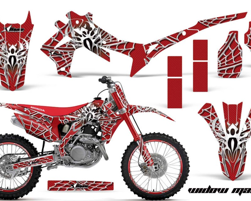 AMR Racing Graphics MX-NP-HON-CRF450R-13-16-WM W R Kit Decal Sticker Wrap + # Plates For Honda CRF450R 2013-2016áWIDOW WHITE RED