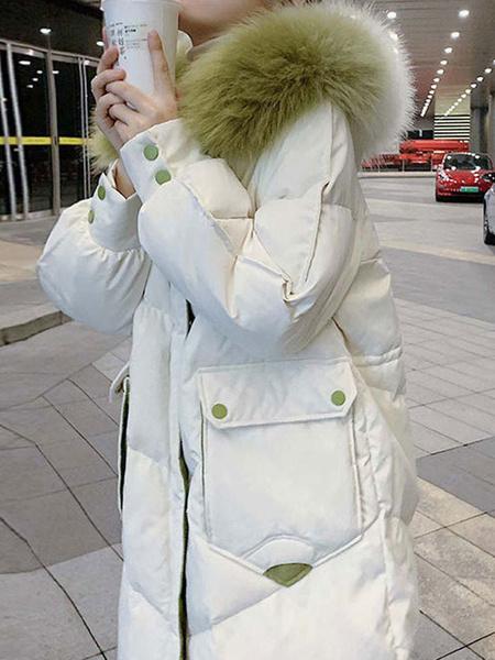 Milanoo Abrigos acolchados para mujer Bolsillos largos blancos Cremallera con capucha Mangas largas Bloque de color Ropa de abrigo informal de inviern