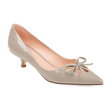 Journee Collection Womens Lutana Slip-on Pointed Toe Kitten Heel Pumps, 6 1/2 Medium, Gray
