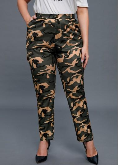 Camouflage Print Pocket Plus Size Pants - 3XL
