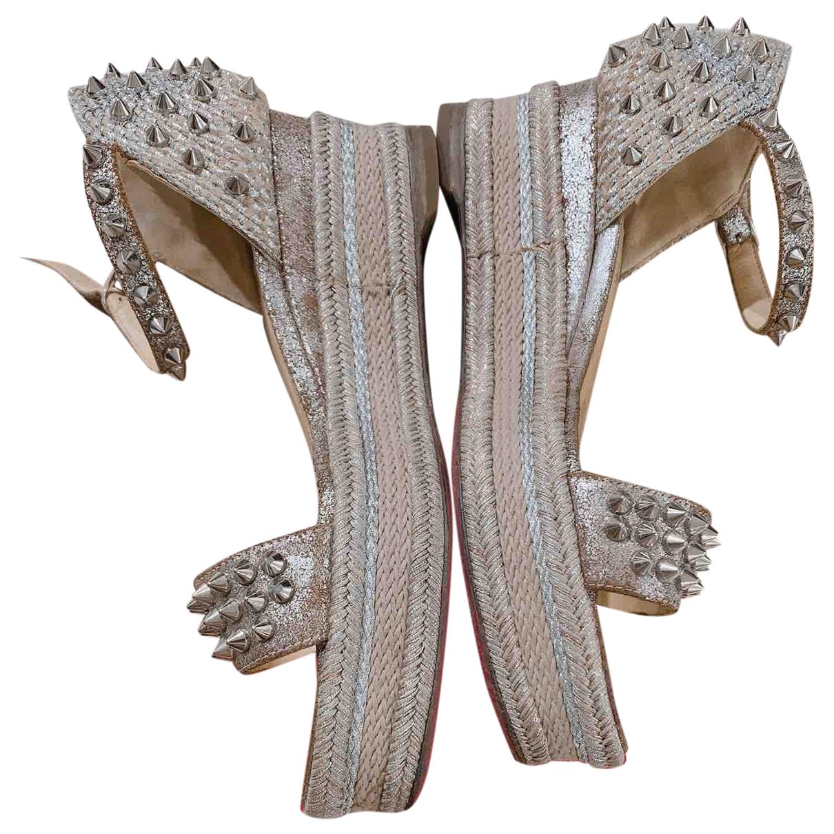 Christian Louboutin Cataclou Beige Leather Sandals for Women 34 EU
