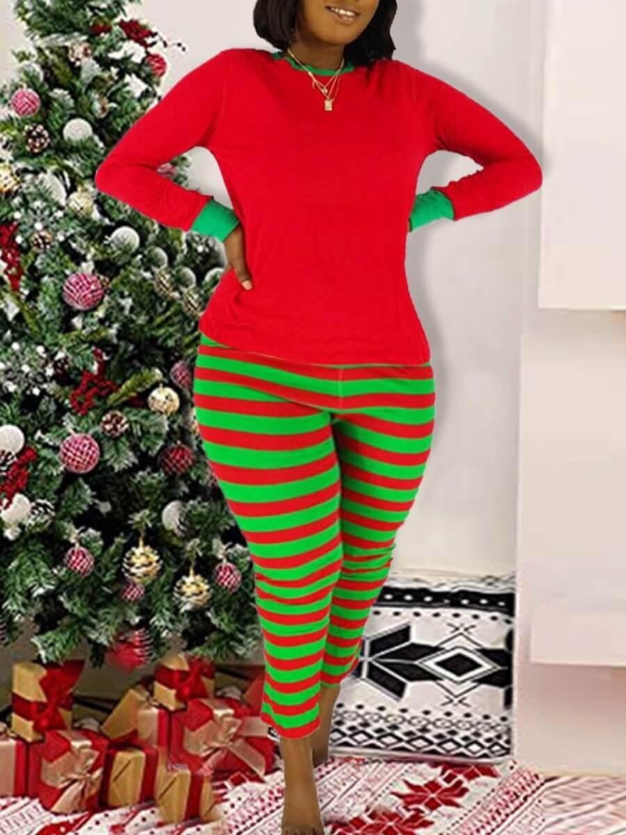 LW Lovely Leisure O Neck Striped Print Red Sleepwear