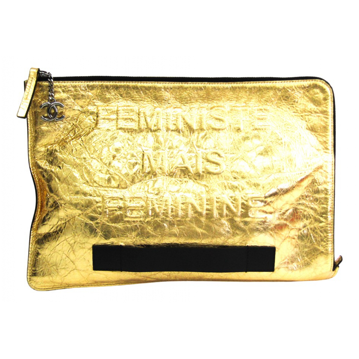 Chanel N Gold Leather Clutch bag for Women N