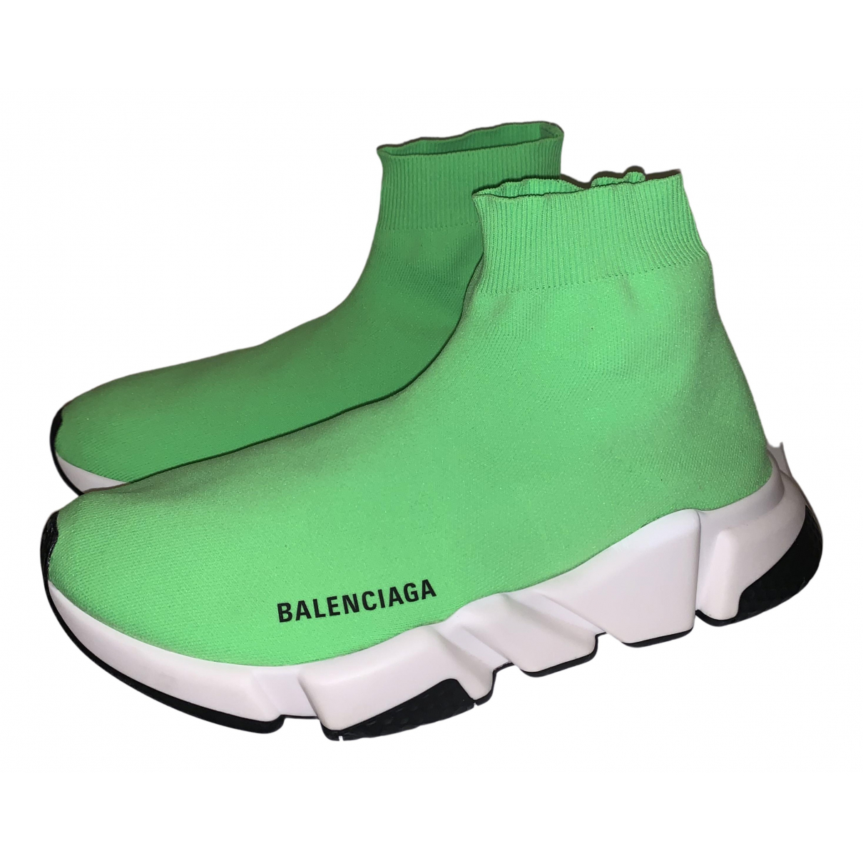 Balenciaga Speed Green Cloth Trainers for Men 41 EU
