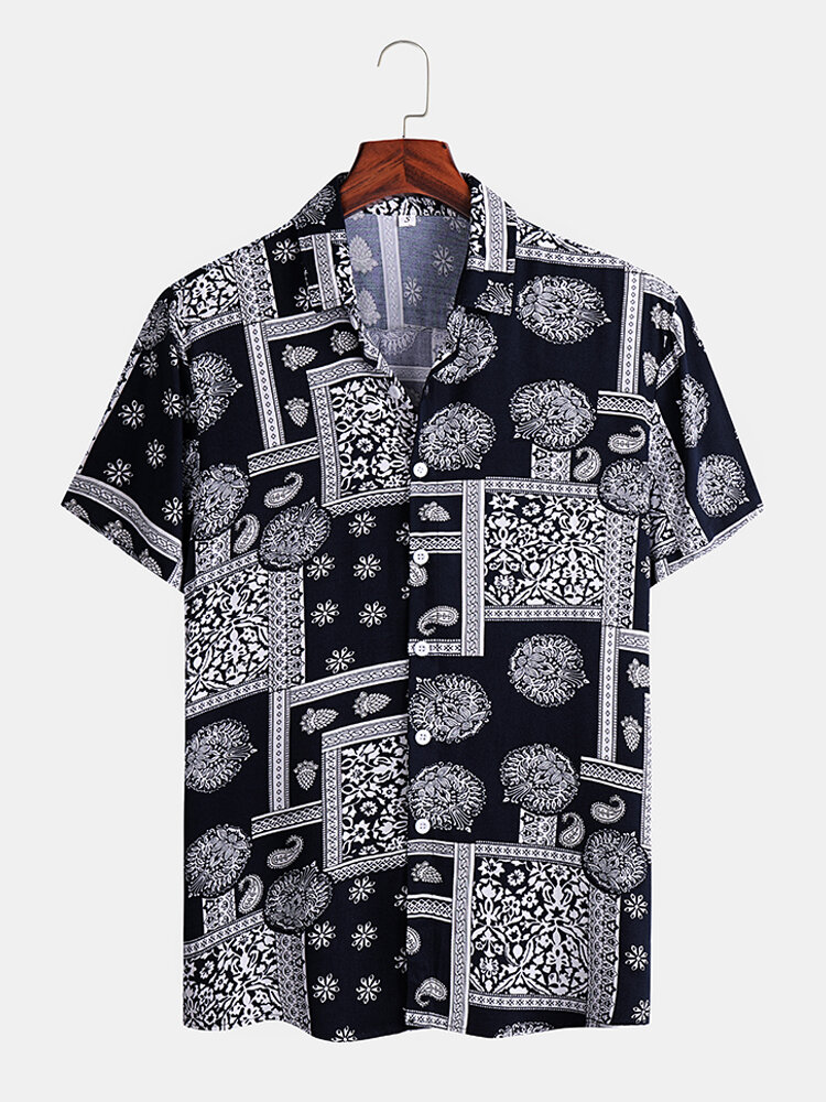 Mens Vintage Pattern Cashew Flower Printed Casual Shirts