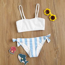 Girls Striped Rib Tie Side Bikini Swimsuit