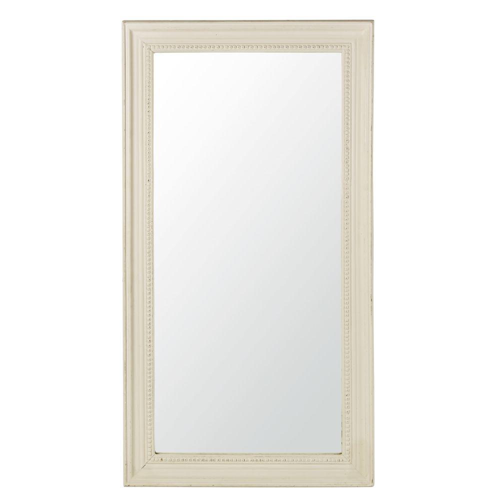 Spiegel mit weissem Perlenrahmen 89x165