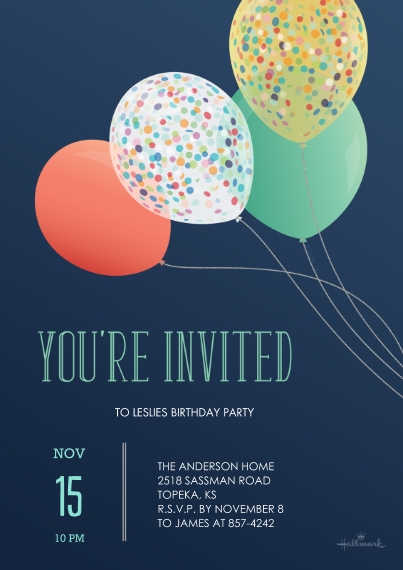 Birthday Party Invites 5x7 Cards, Premium Cardstock 120lb with Scalloped Corners, Card & Stationery -HMK_YoureInvitedBalloons_5x7_FlatCard_01