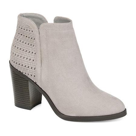 Journee Collection Womens Jessica Stacked Heel Booties, 6 1/2 Medium, Gray