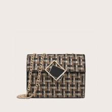Bolsa tweed con cadena con diseño geometrico