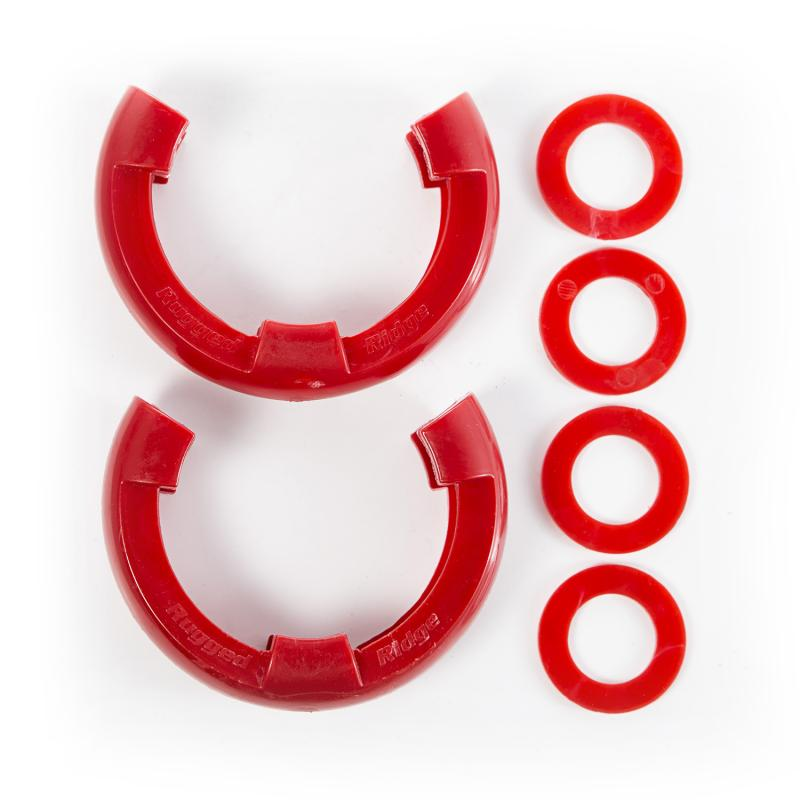 Rugged Ridge 11235.31 D-Ring Shackle Isolator Kit, Red Pair, 3/4 inch