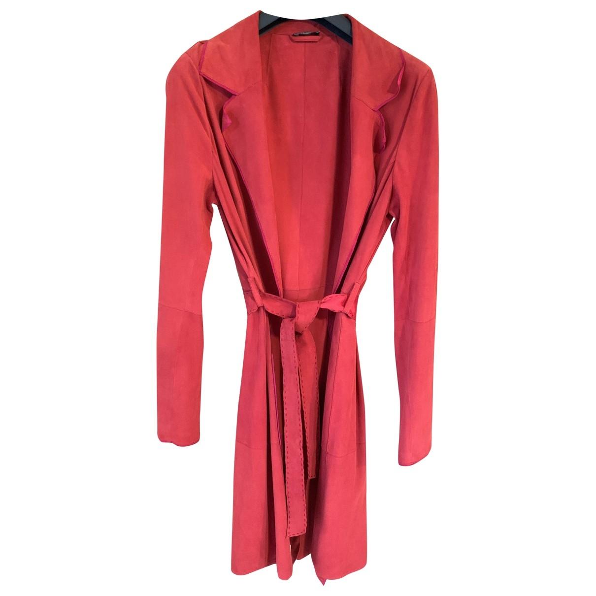Maliparmi - Trench   pour femme en suede - rouge