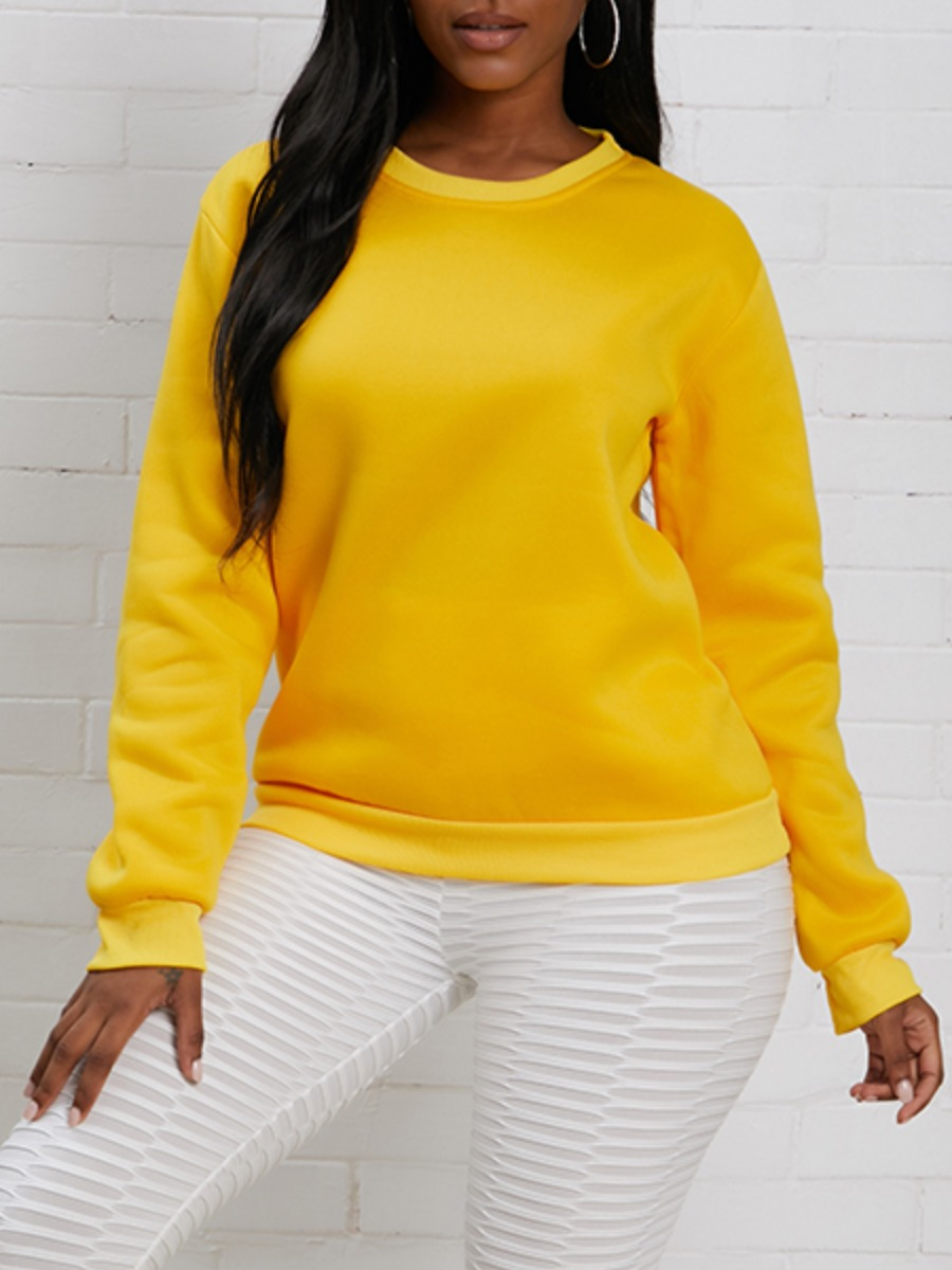 LW lovely Casual O Neck Basic Yellow Hoodie