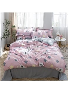 Exquisite And Breathable Happy Elephant Printed 4-Piece Silky Bedding Sets/Duvet Covers