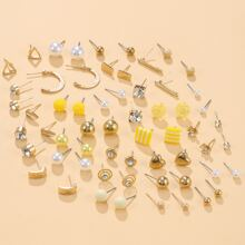 30pairs Girls Rhinestone & Faux Pearl Decor Earrings