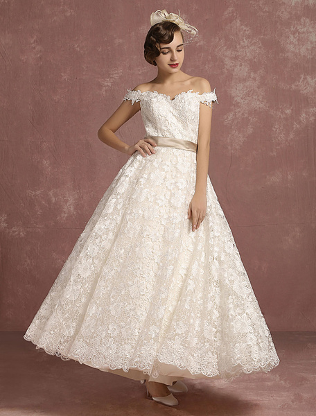 Milanoo Lace Wedding Dress Vintage Sweetheart A Line Bridal Gown Off The Shoulder Sleeveless Ankle Length Bridal Dress With Detachable Ribbon Bow
