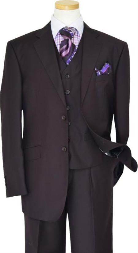 Tzarelli Solid Plum HandPick Stitching Supers Wool Vested Suit