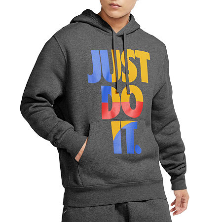 Nike Just Do It Mens Long Sleeve Hoodie, Small , Gray