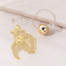 Hollow Out Goldfish Drop Earrings