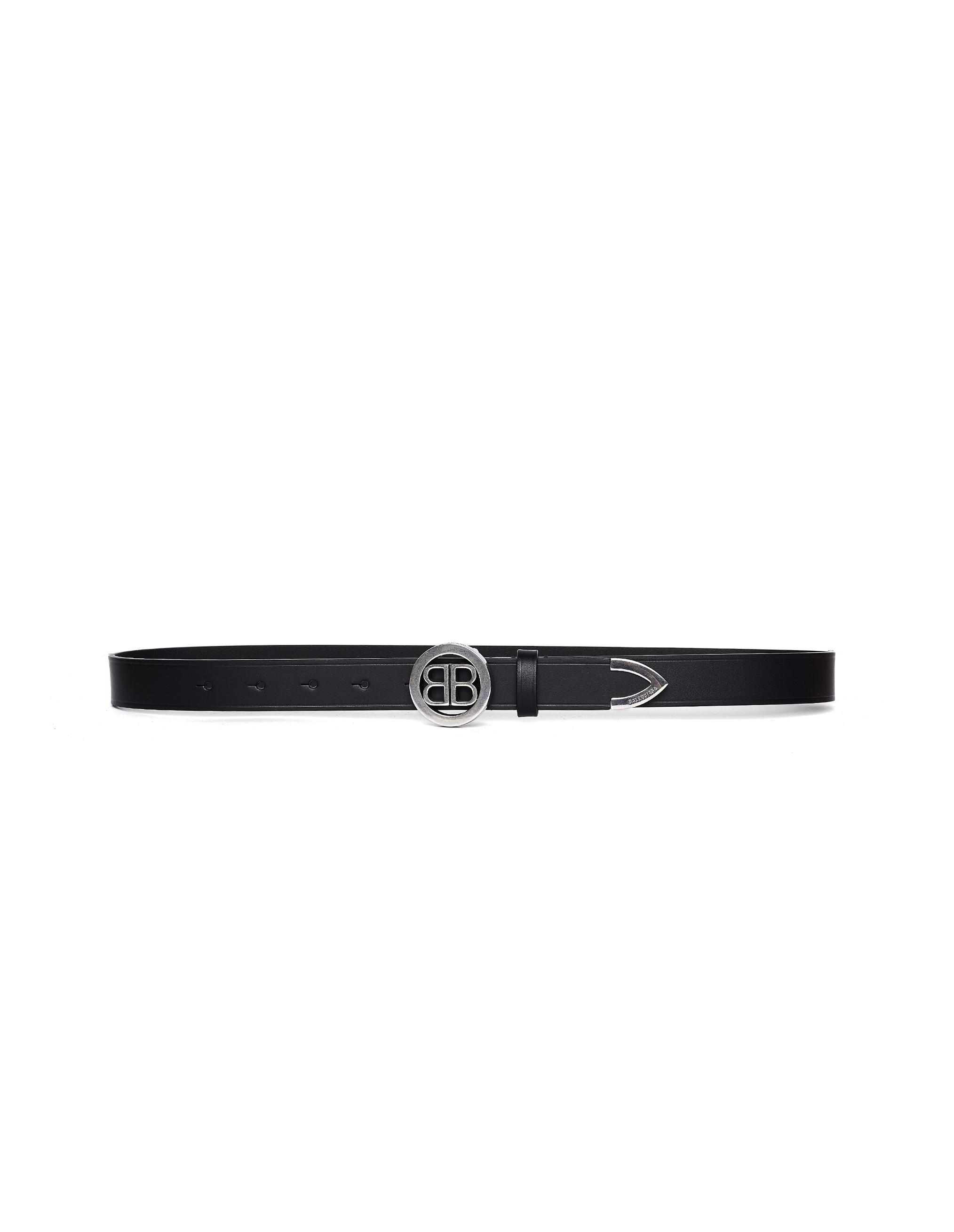 Balenciaga Black Leather ВВ Belt