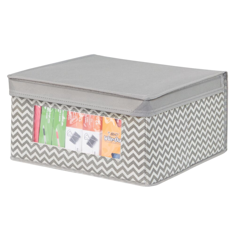 Medium Fabric Office Storage Box with Clear Front and Lid in Taupe/Natural, 11.5