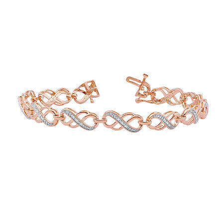 1/10 CT. T.W. Genuine Diamond 14K Rose Gold Over Silver Infinity 7.5 Inch Tennis Bracelet, One Size , No Color Family