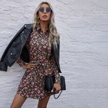 Allover Floral Belted Shirt Dress
