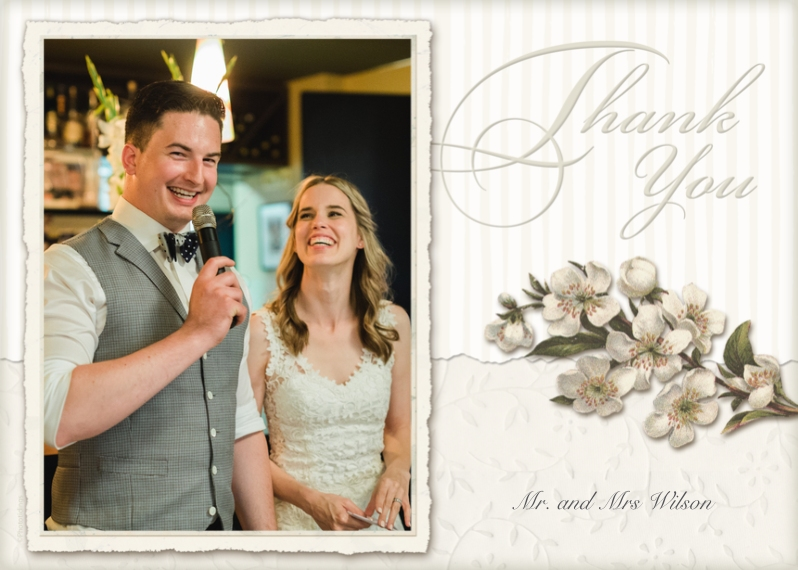 Wedding Thank You 5x7 Folded Cards, Premium Cardstock 120lb, Card & Stationery -Floral Thank You