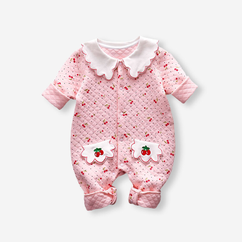 Baby Cherry Print Long Sleeves Casual Warm Rompers For 3-18M