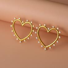 1pair Hollow Out Heart Decor Stud Earrings