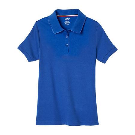French Toast Big Girls Short Sleeve Polo Shirt, X-large , Blue