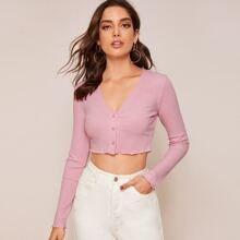 Ribbed Buttoned Lettuce-Edge Crop Top