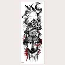 Pegatina tatuaje con patron de lobo