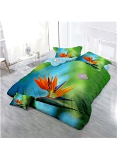 Bird of Paradise Wear-resistant Breathable High Quality 60s Cotton 4-Piece 3D Bedding Sets