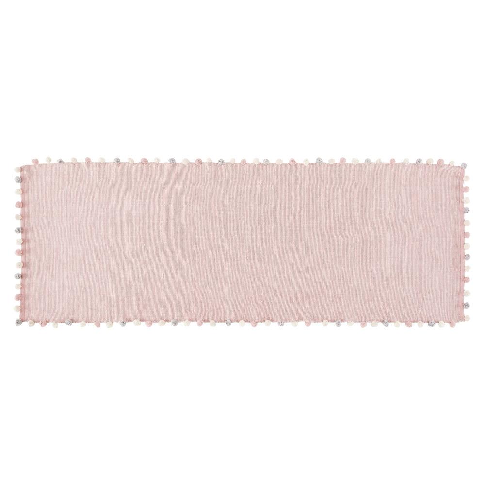 Baumwolldecke mit Quasten, rosa 80x200