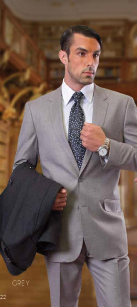 Classic Slim Fit 2 Piece 2 Button Gray Stitched 1 Supers Wool