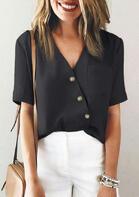 Button Wrap Pocket V-Neck Blouse - Black